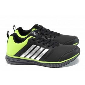 Дамски маратонки - висококачествена еко-кожа - черни - EO-11398