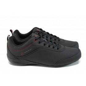Дамски маратонки - висококачествена еко-кожа - черни - EO-11396