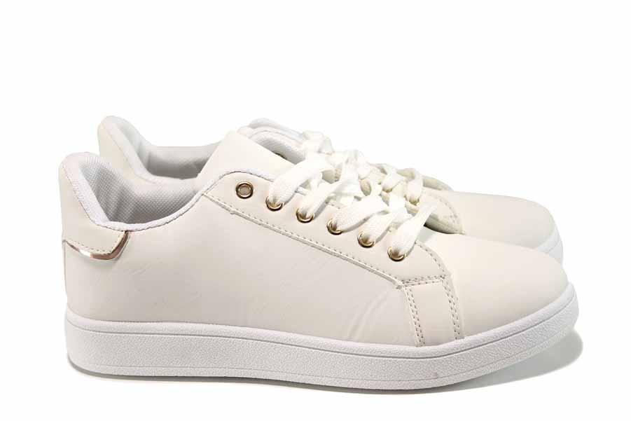 Дамски маратонки - висококачествена еко-кожа - бели - EO-11389