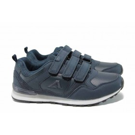 Дамски маратонки - висококачествена еко-кожа - сини - EO-11502