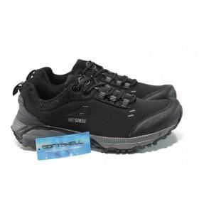 Дамски маратонки - висококачествен текстилен материал - черни - EO-11504