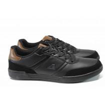 Спортни мъжки обувки - висококачествена еко-кожа - черни - EO-11508