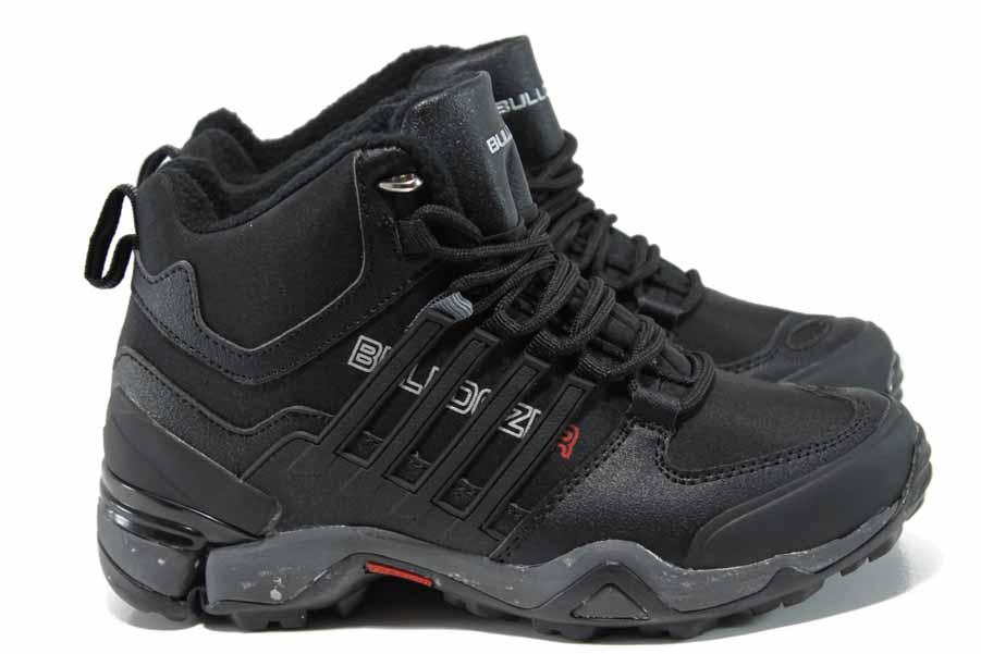Юношески боти - висококачествена еко-кожа - черни - EO-11791