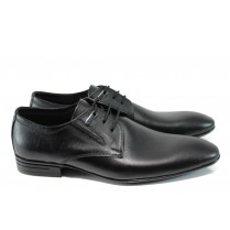 Елегантни мъжки обувки - естествена кожа - черни - EO-9918