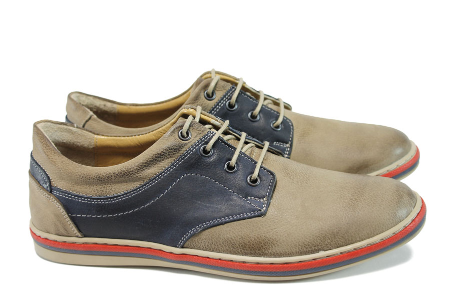 Мъжки обувки - естествена кожа - бежови - EO-9962