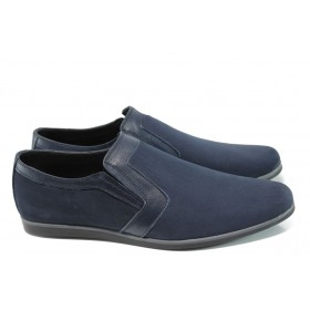 Спортно-елегантни мъжки обувки - естествен набук - сини - EO-9934