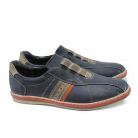 Мъжки обувки - естествена кожа - сини - EO-9964