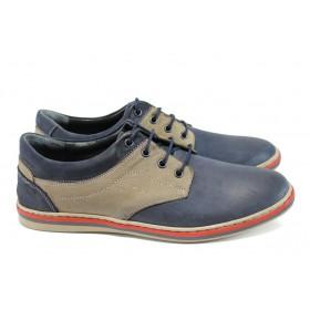 Мъжки обувки - естествена кожа - сини - EO-9963