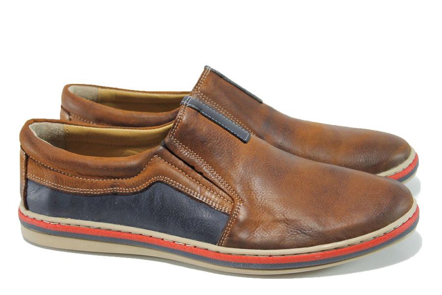 Спортно-елегантни мъжки обувки - естествена кожа - кафяви - EO-9936