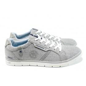 Спортни мъжки обувки - висококачествен текстилен материал - светлосив - EO-10437