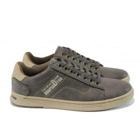 Спортни мъжки обувки - висококачествена еко-кожа - кафяви - EO-10419