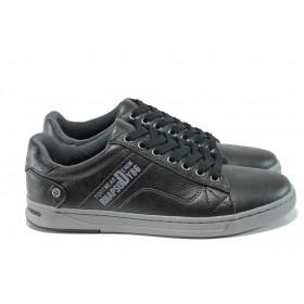 Спортни мъжки обувки - висококачествена еко-кожа - черни - EO-10420