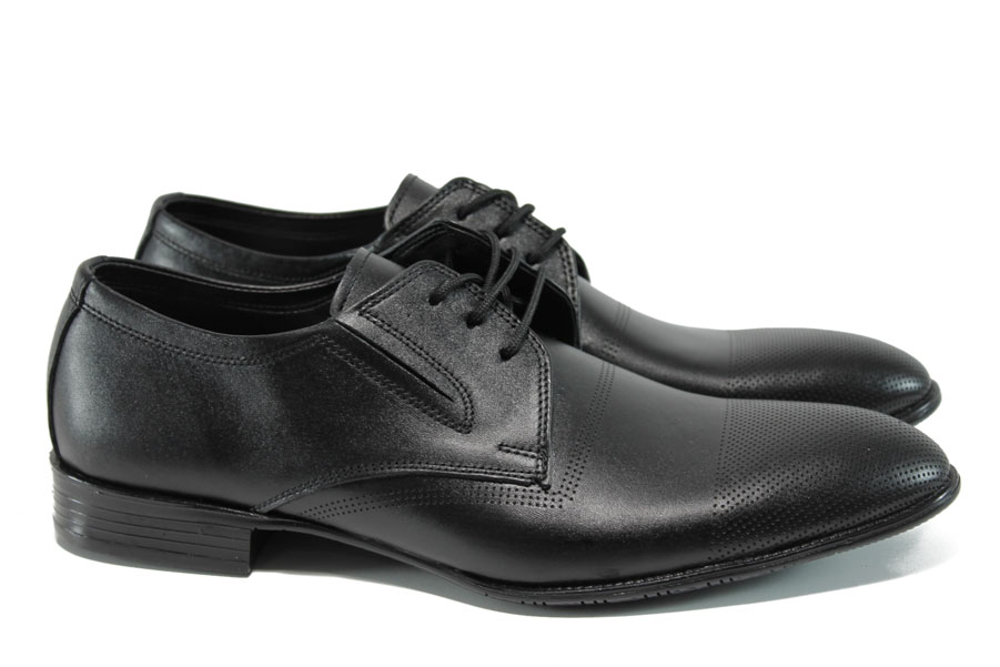 Елегантни мъжки обувки - естествена кожа - черни - EO-10646