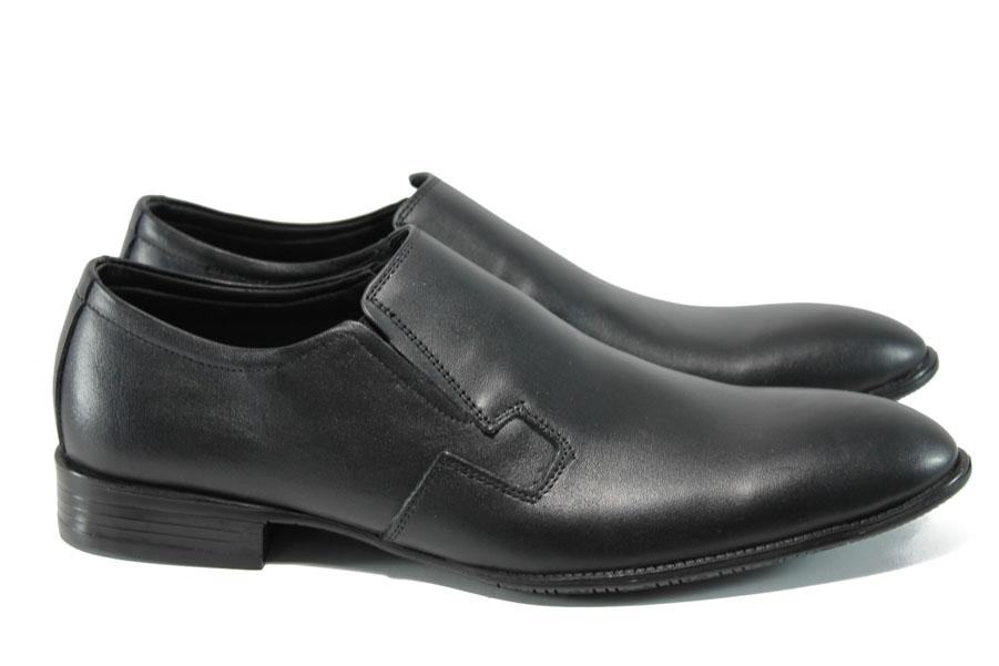 Спортно-елегантни мъжки обувки - естествена кожа - черни - EO-10645