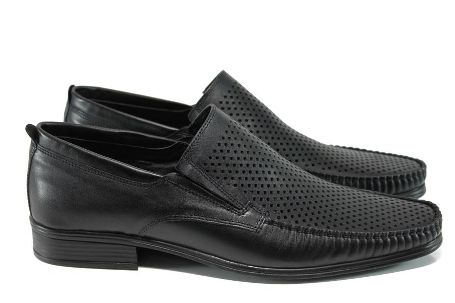 Мъжки обувки - естествена кожа - черни - EO-10784