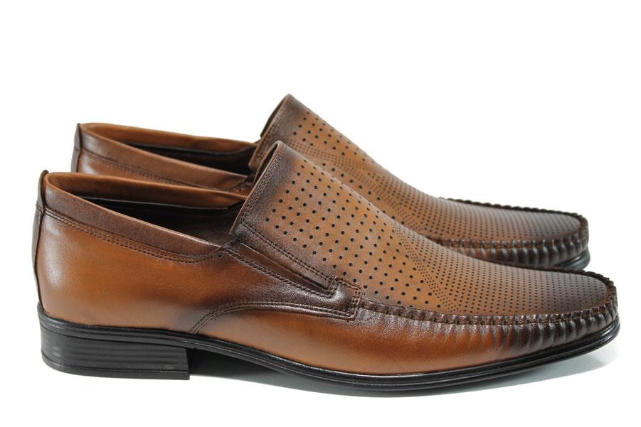 Мъжки обувки - естествена кожа - кафяви - EO-10785
