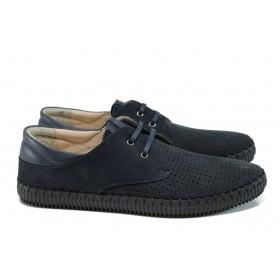 Мъжки обувки - естествена кожа - тъмносин - EO-10793