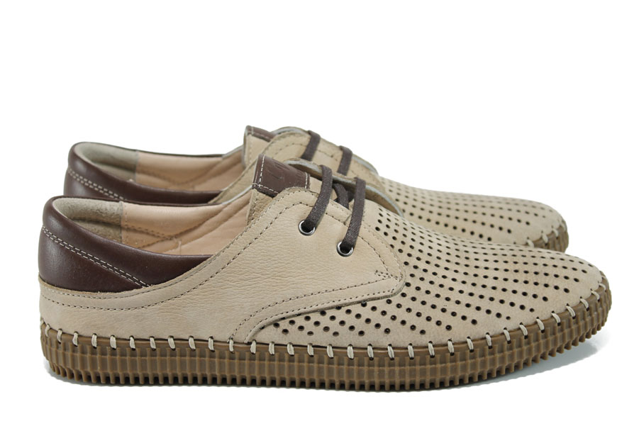 Мъжки обувки - естествена кожа - бежови - EO-10792