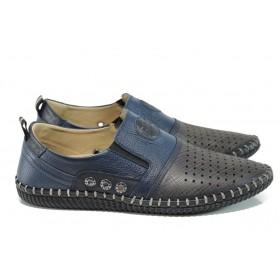 Мъжки обувки - естествена кожа - сини - EO-10795