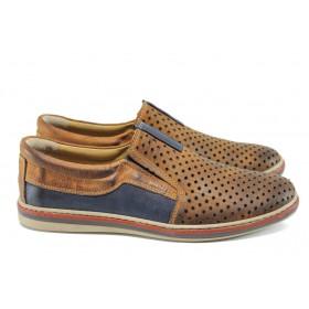 Мъжки обувки - естествена кожа - кафяви - EO-10786