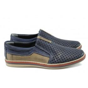 Мъжки обувки - естествена кожа - сини - EO-10787