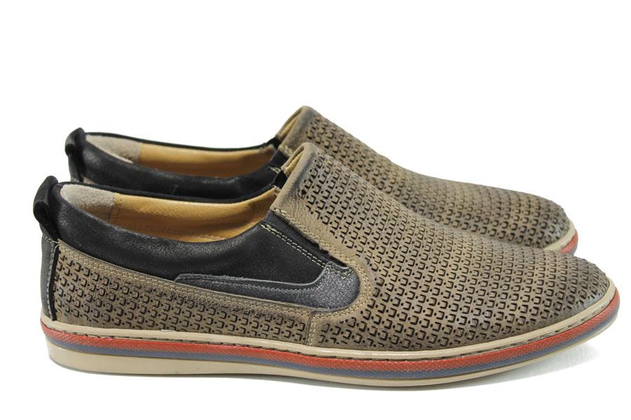 Мъжки обувки - естествена кожа - кафяви - EO-10789