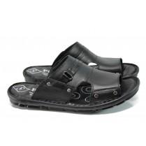 Мъжки чехли - естествена кожа - черни - EO-10844