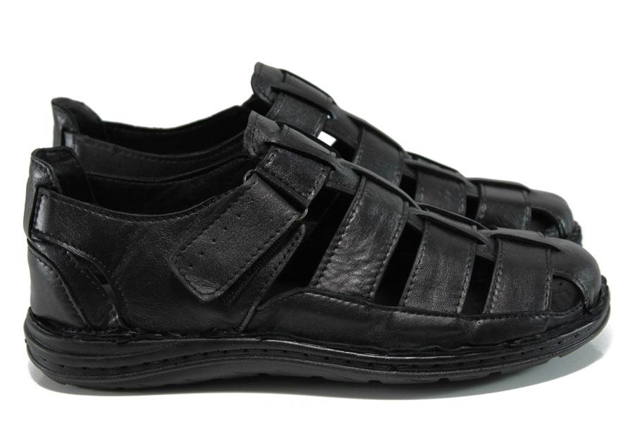 Мъжки сандали - естествена кожа - черни - EO-10918