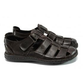 Мъжки сандали - естествена кожа - кафяви - EO-10919