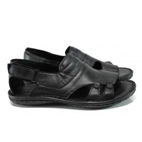 Мъжки сандали - естествена кожа - черни - EO-10920