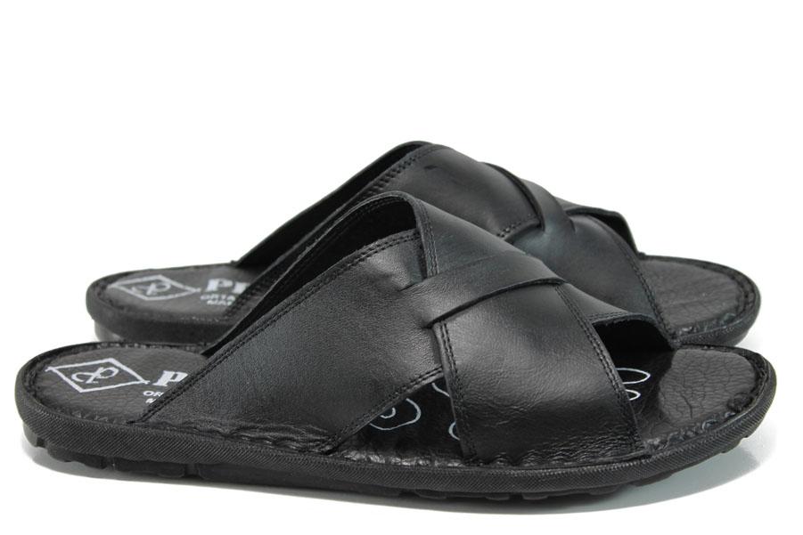 Мъжки чехли - естествена кожа - черни - EO-10923