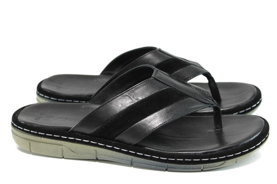 Мъжки чехли - естествена кожа - черни - EO-11008