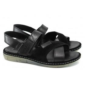 Мъжки сандали - естествена кожа - черни - EO-11012