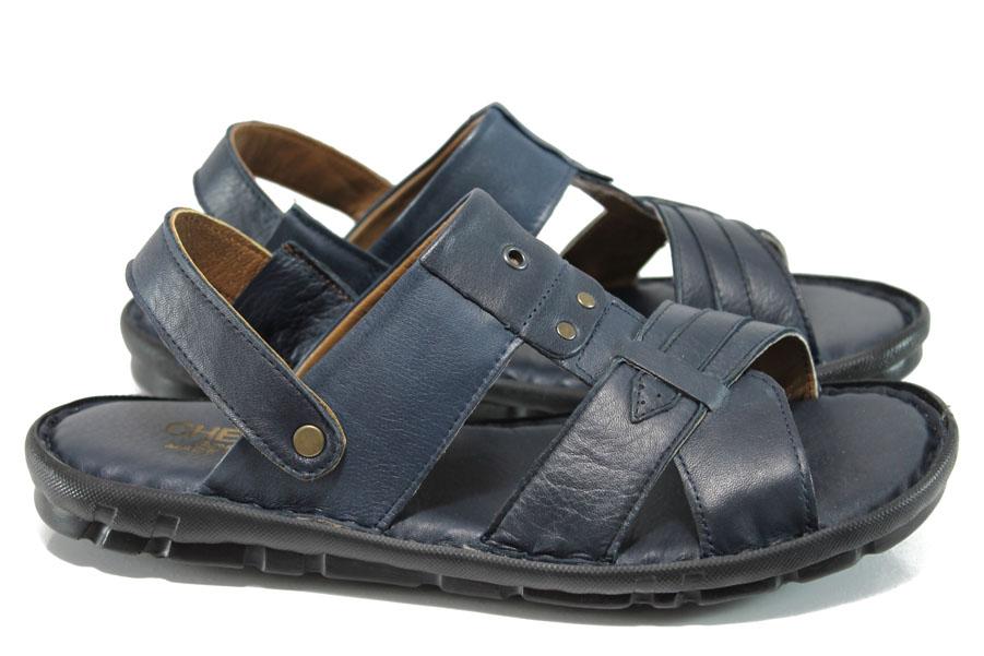 Мъжки чехли - естествена кожа - сини - EO-11010