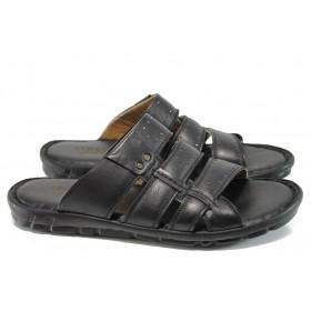 Мъжки чехли - естествена кожа - черни - EO-11003