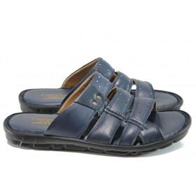 Мъжки чехли - естествена кожа - сини - EO-11002