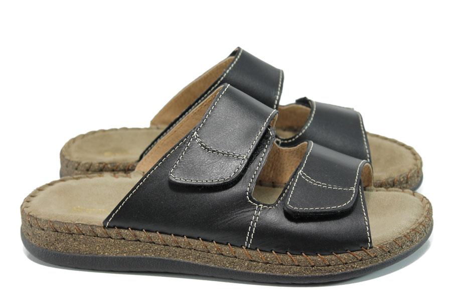 Мъжки чехли - естествена кожа - черни - EO-11043