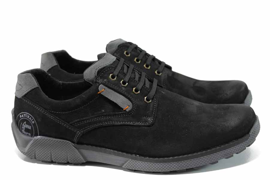 Мъжки обувки - естествена кожа - черни - EO-11316