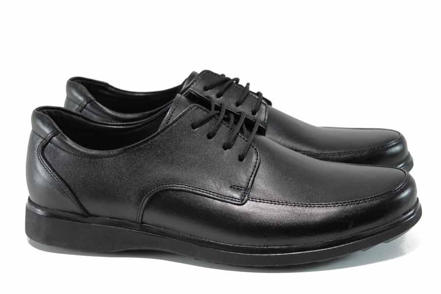 Мъжки обувки - естествена кожа - черни - EO-11362
