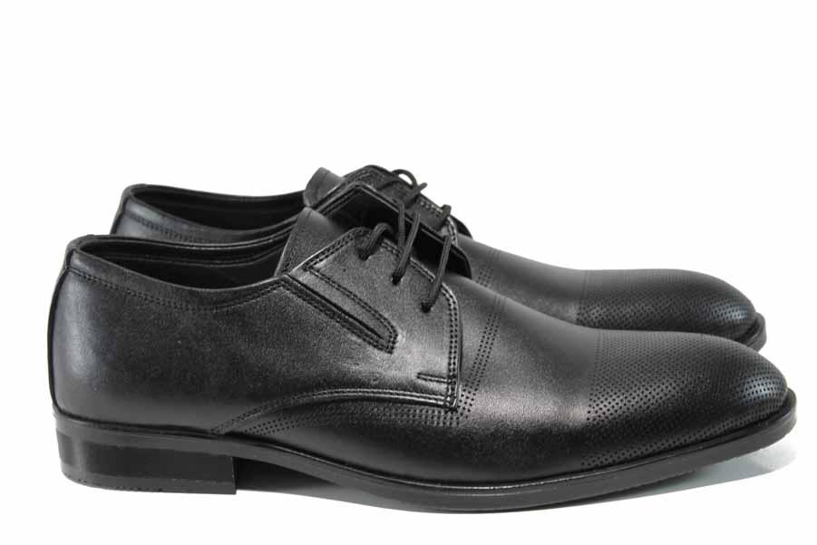 Мъжки обувки - естествена кожа - черни - EO-11533