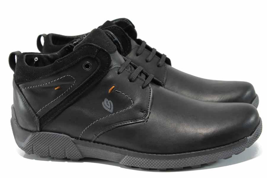 Мъжки боти - естествена кожа - черни - EO-11547