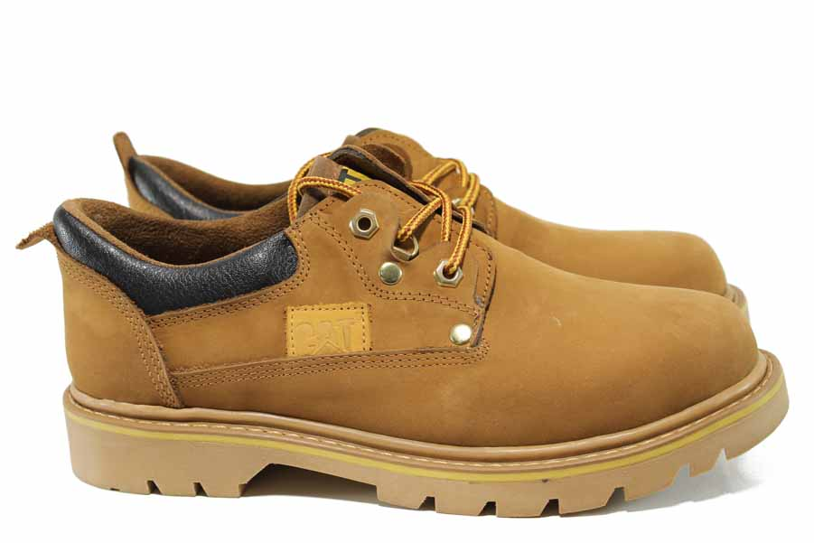 Мъжки обувки - естествен набук - жълти - EO-11571