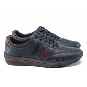 Спортни мъжки обувки - естествена кожа - сини - EO-11600