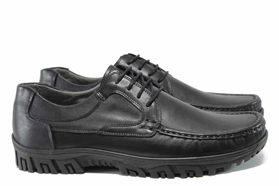 Мъжки обувки - естествена кожа - черни - EO-11598