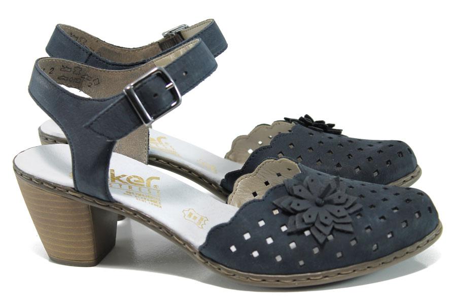 Дамски обувки на среден ток - естествена кожа - сини - EO-9827