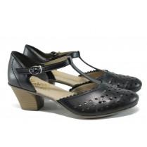Дамски обувки на среден ток - естествена кожа - черни - EO-9828