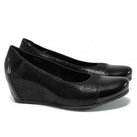 Дамски обувки на платформа - естествена кожа - черни - EO-9830
