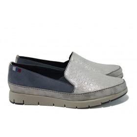 Равни дамски обувки - естествена кожа - сиви - EO-9831