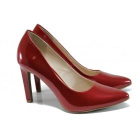 Дамски обувки на висок ток - висококачествена еко-кожа - червени - EO-9836