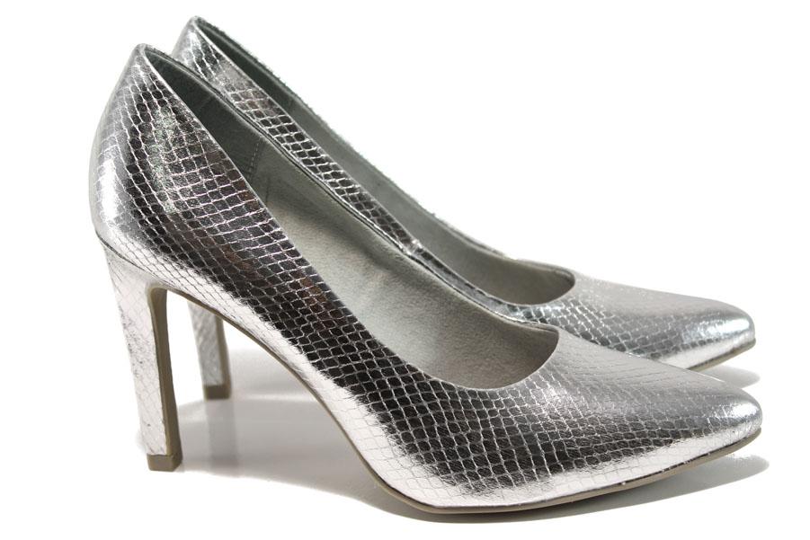 Дамски обувки на висок ток - висококачествена еко-кожа - сиви - EO-9837